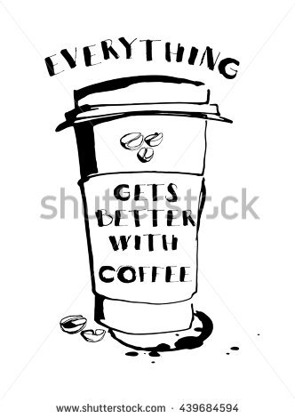 Hand Drawn Cup Coffee Text I Stock Vector 260854220.