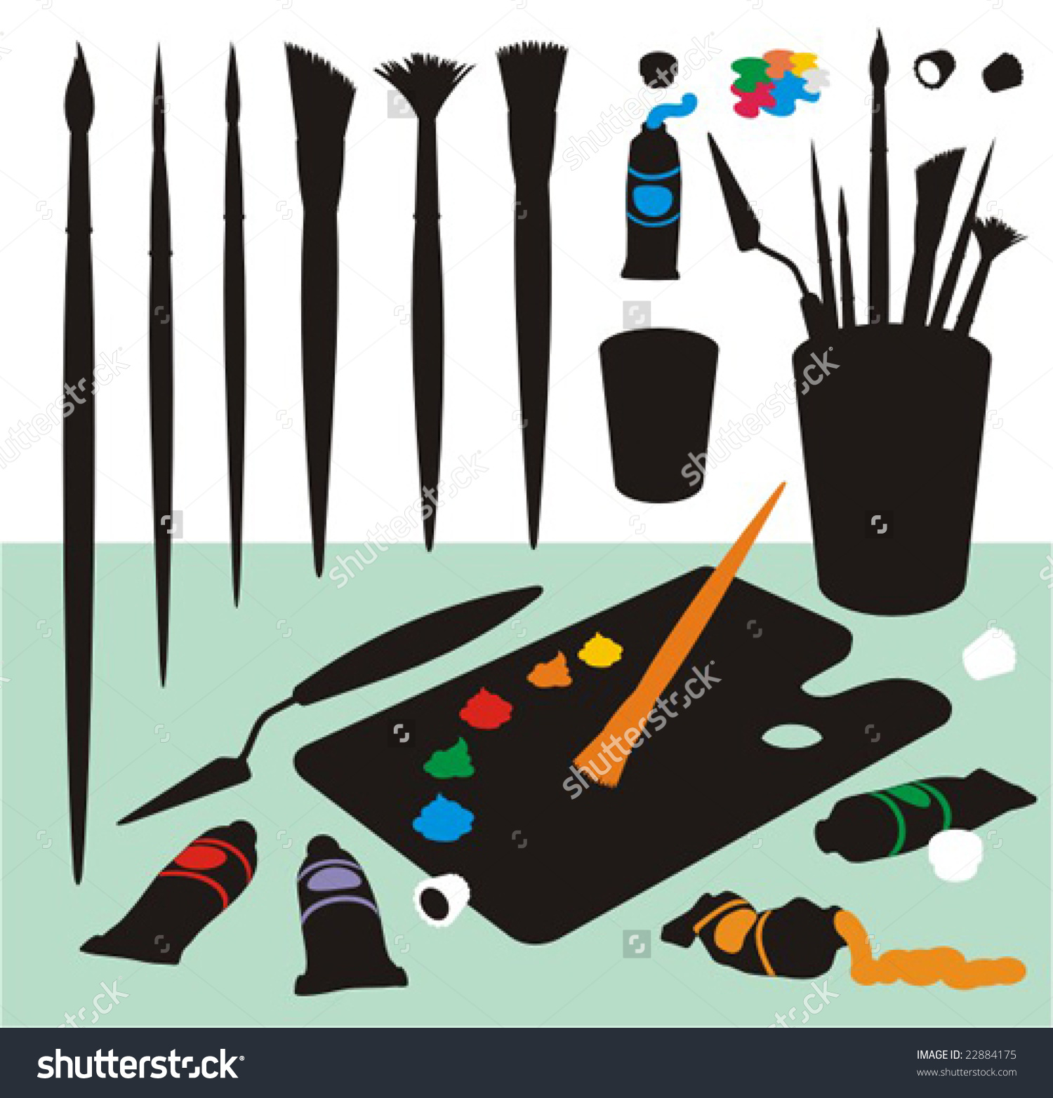 Clip Art Collection With Paintbrushes, Palette, Spatula,Kinife.