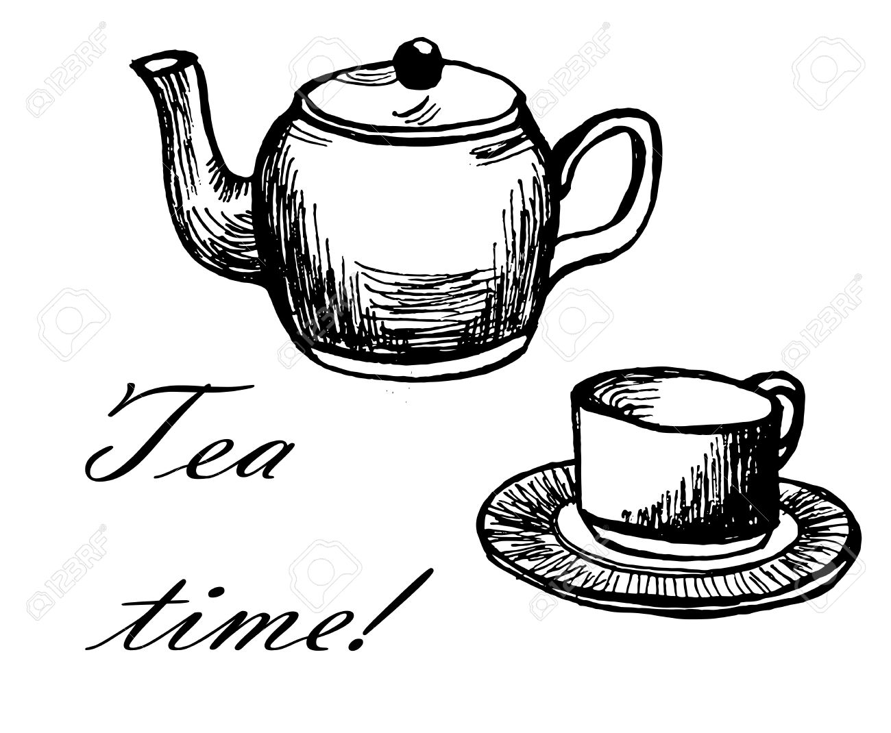 "Card ""tea Time"" With Hand Drawn Cup And Kettle Ink Sketch Vector."