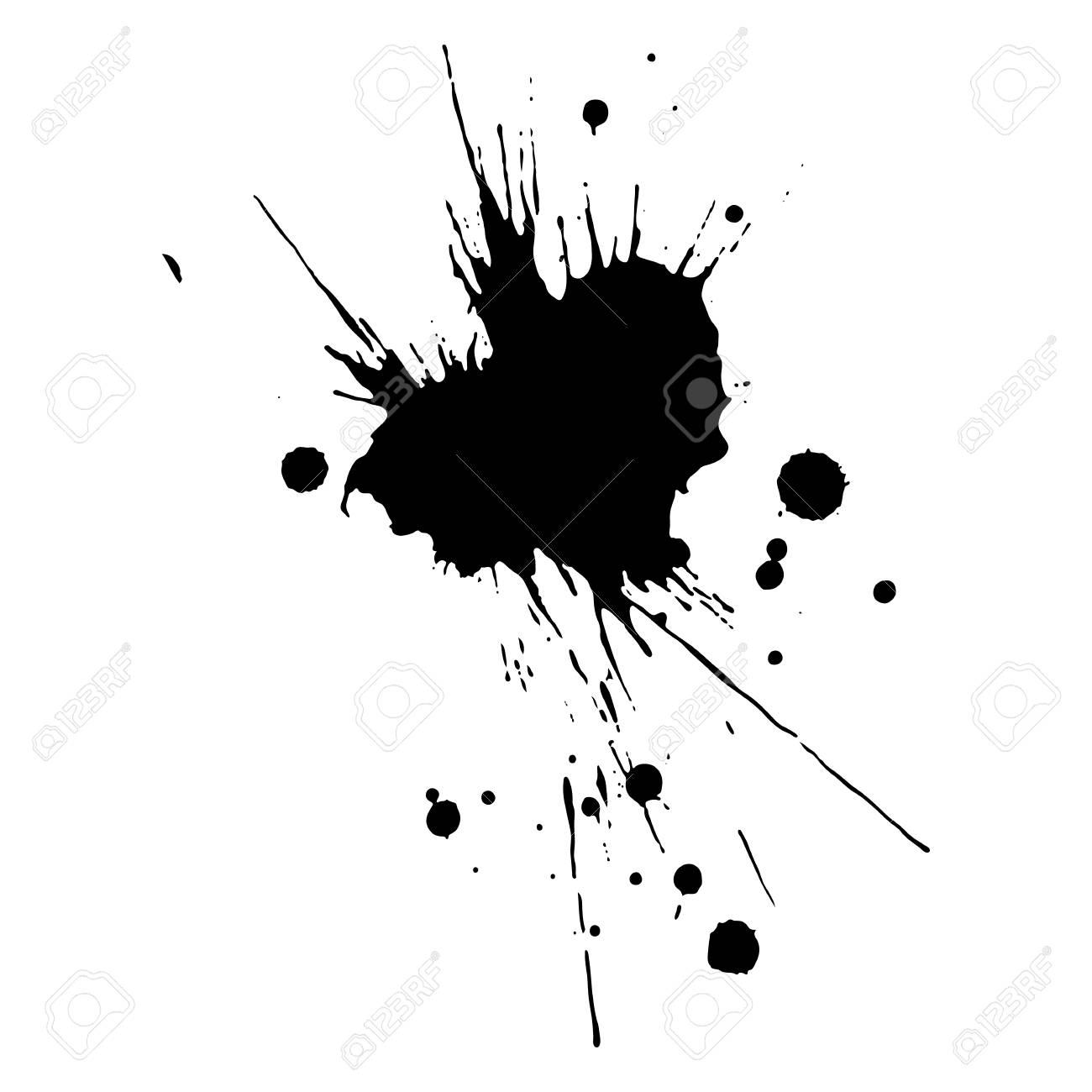 Black ink drop and splash, vector illustration clip art.