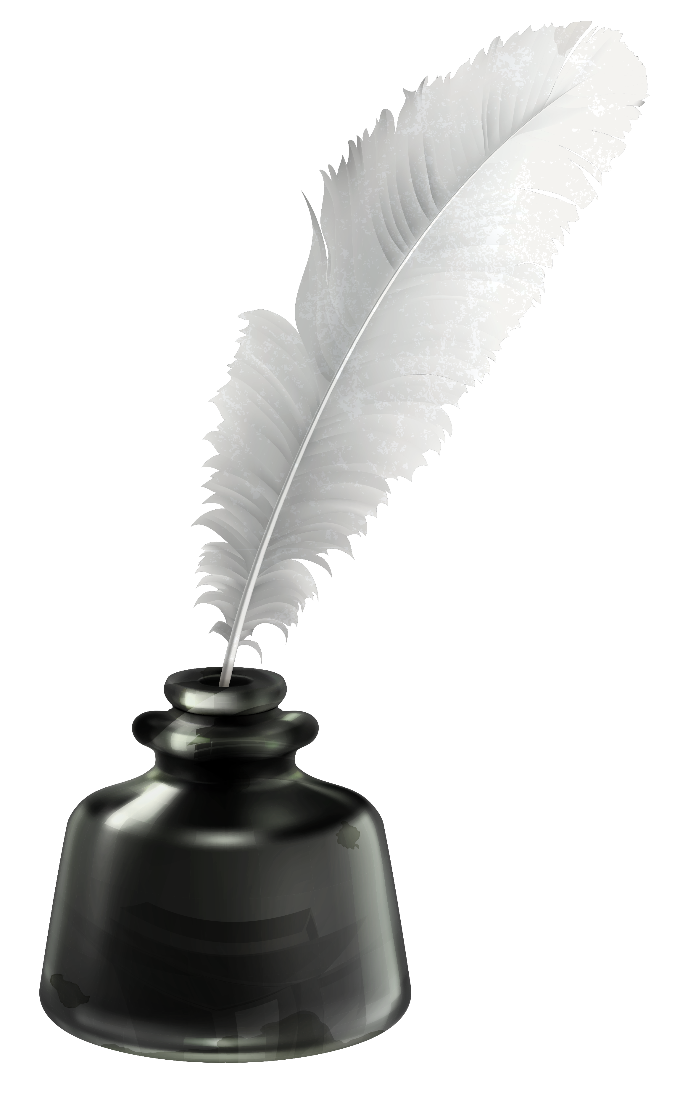Quill and Ink Pot Transparent PNG Vector Clipart.