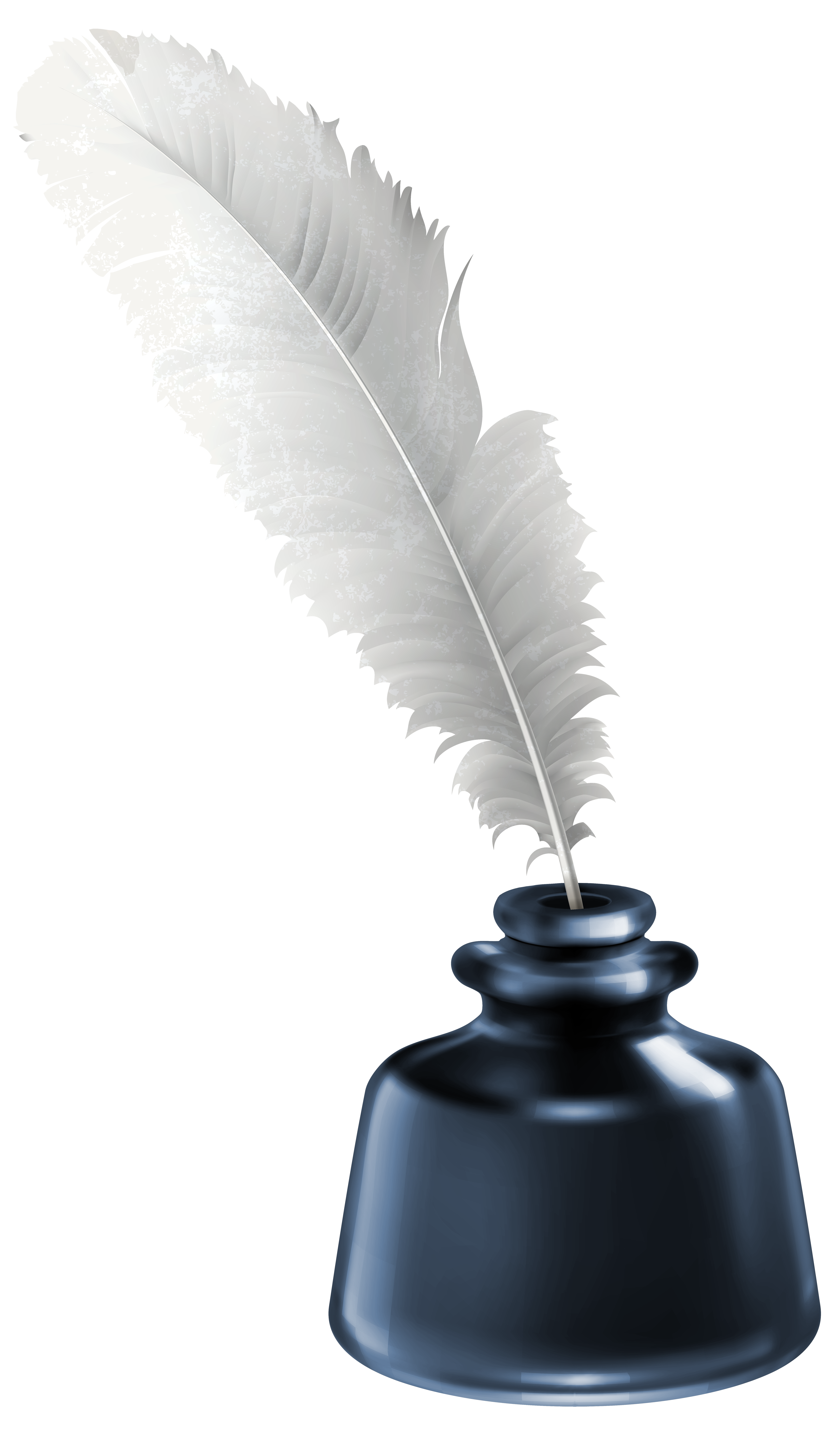 Quill and Blue Ink Pot Transparent PNG Clip Art Image.