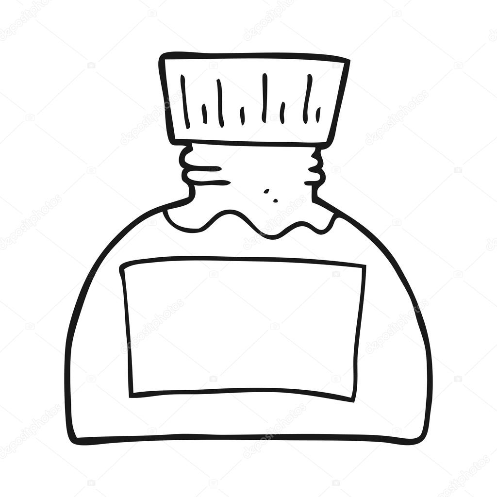 Clipart: ink pot black and white.