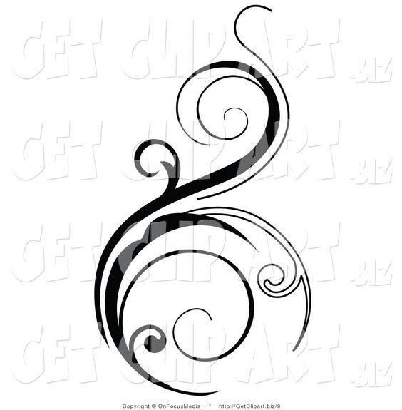 Vector Clip Art of a Black Vertical Scroll Design Element on White.