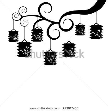 Chinese Black Lanterns White Banco de Imagens, Fotos e Vetores.