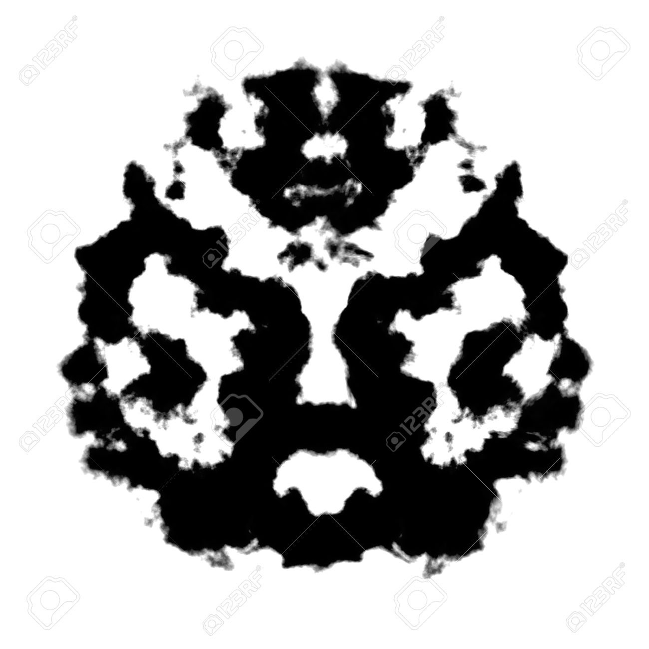 Rorschach Inkblot Test Illustration, Random Abstract Design Stock.