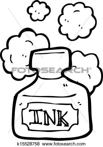 Clip Art of cartoon ink pot k15528758.