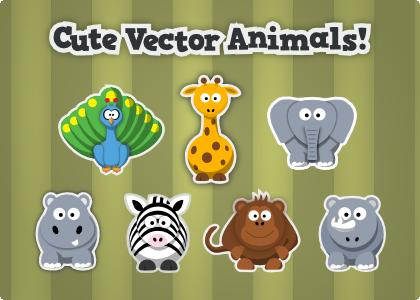 Free Cute Cartoon Animals vector clipart.