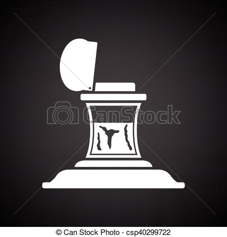 Vector Illustration of Inkstand icon. Black background with white.