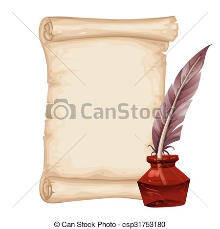 Vector Clip Art of Parchment with Quill and Inkstand.