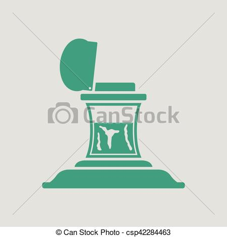 Clip Art Vector of Inkstand icon. Gray background with green.