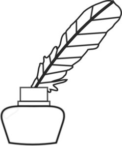 Quill Feather Inkwell Clipart.