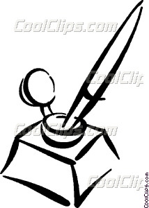 Book And Inkwell Clipart.