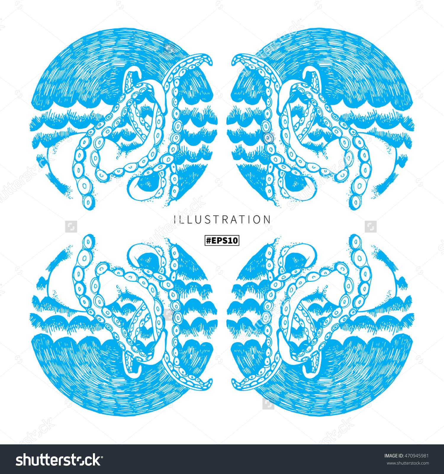 Octopus, Sea, Night Sky, Waves, Underwater World Inky Circle Icon.