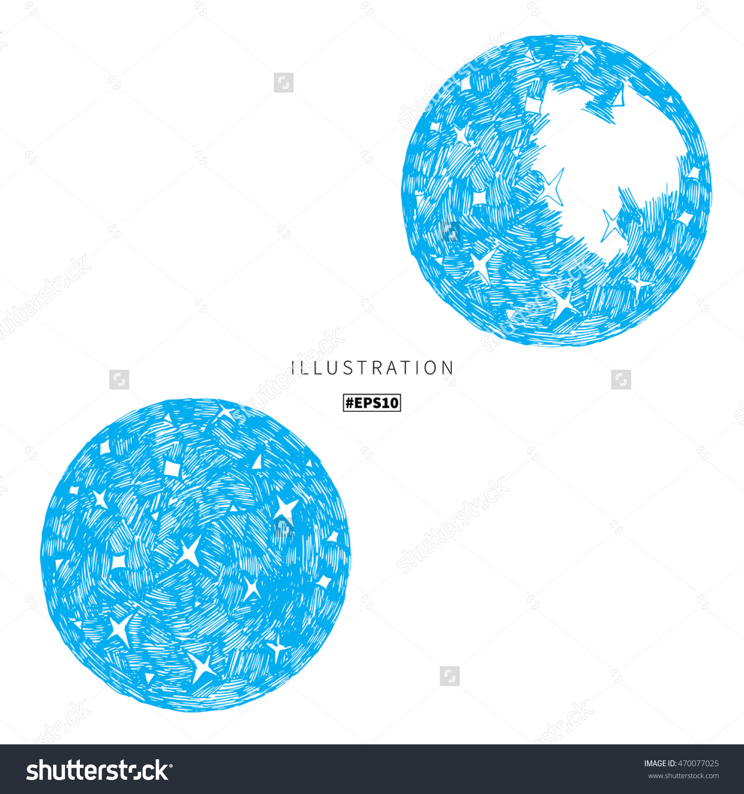 Abstract Night Sky, Stars Inky Circle Icon. Vector Drawn.