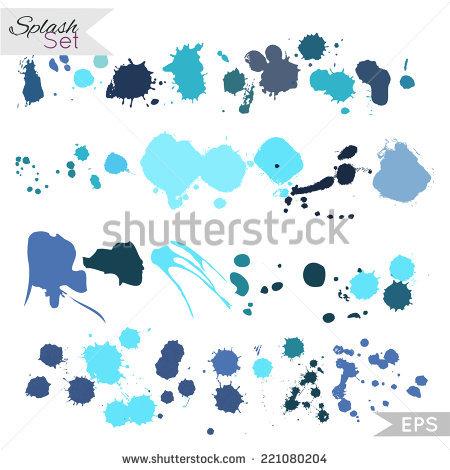 Splash Set. Inky Blot Spatter. Watercolor Spray. Vector.