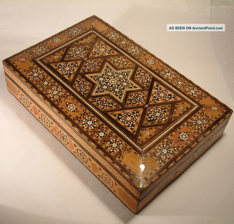 Antique Syrian Islamic Micro Mosaic Inlaid Wood Jewellery Box.