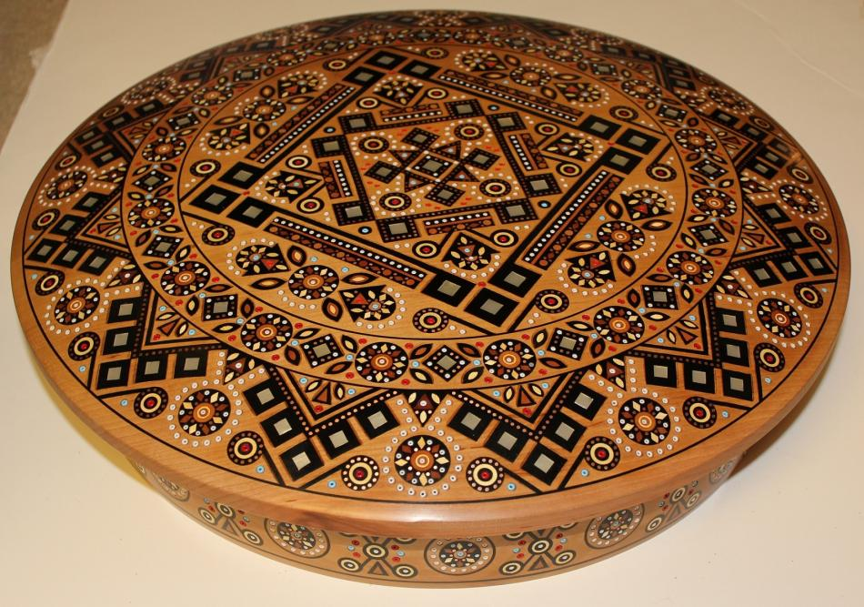 Hutsul style carving and inlaid wood souvenirs.
