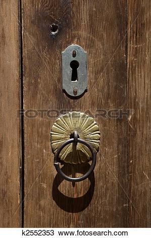 Stock Photo of An old wooden door with inlaid door.