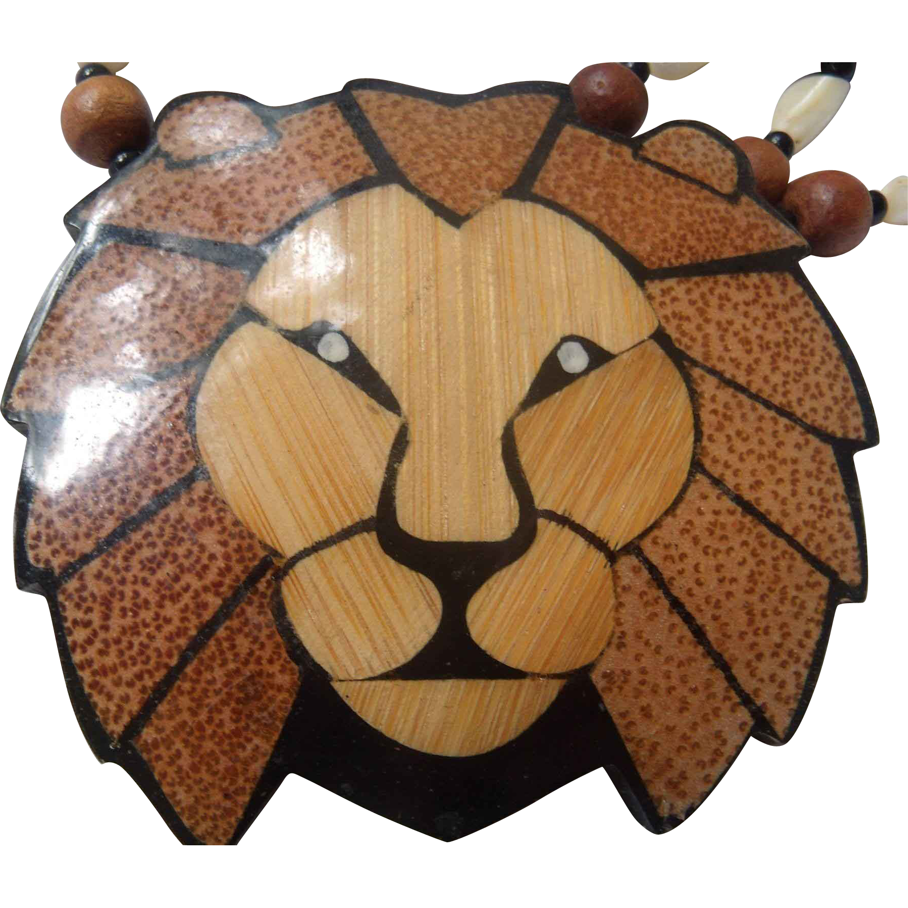 Inlaid Wood & Mother of Pearl Lion Necklace from antiquelyourfancy.