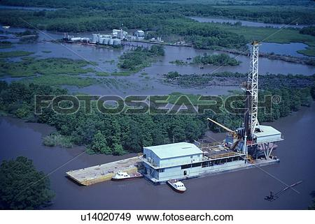 Stock Photograph of Inland Water Oil Drilling Barge u14020749.