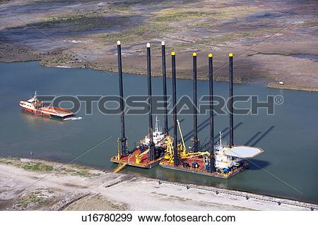 Stock Photograph of Liftboat at Inland Water Dock u16780299.