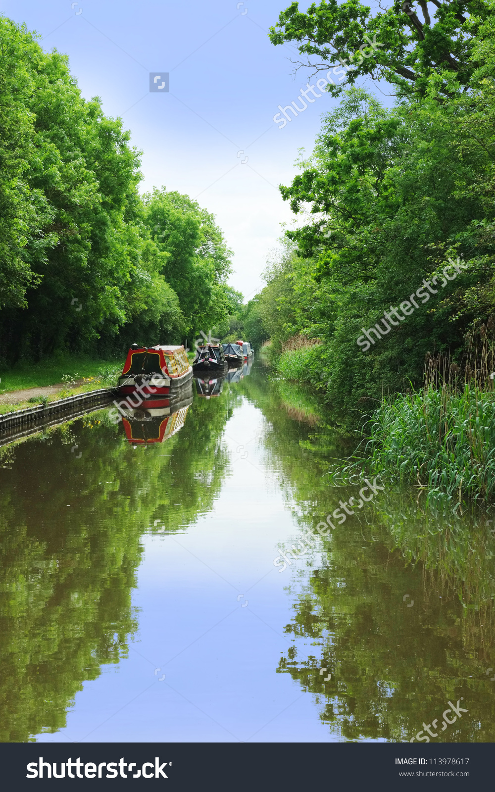 A Canal On The Inland Waterways Network Of Navigable Canals And.