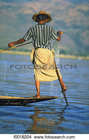 Stock Photo of Myanmar, Shan state, Inle lake, fishing f0018204.