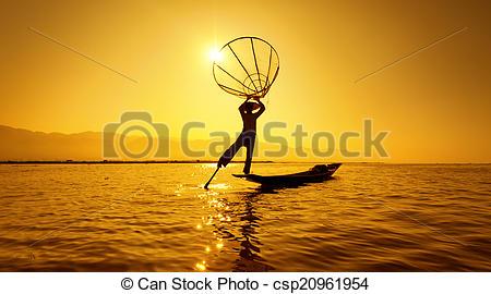 Stock Images of Burma Myanmar Inle lake fisherman on boat catching.