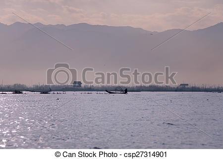 Stock Photography of Fisherman on Inle Lake.