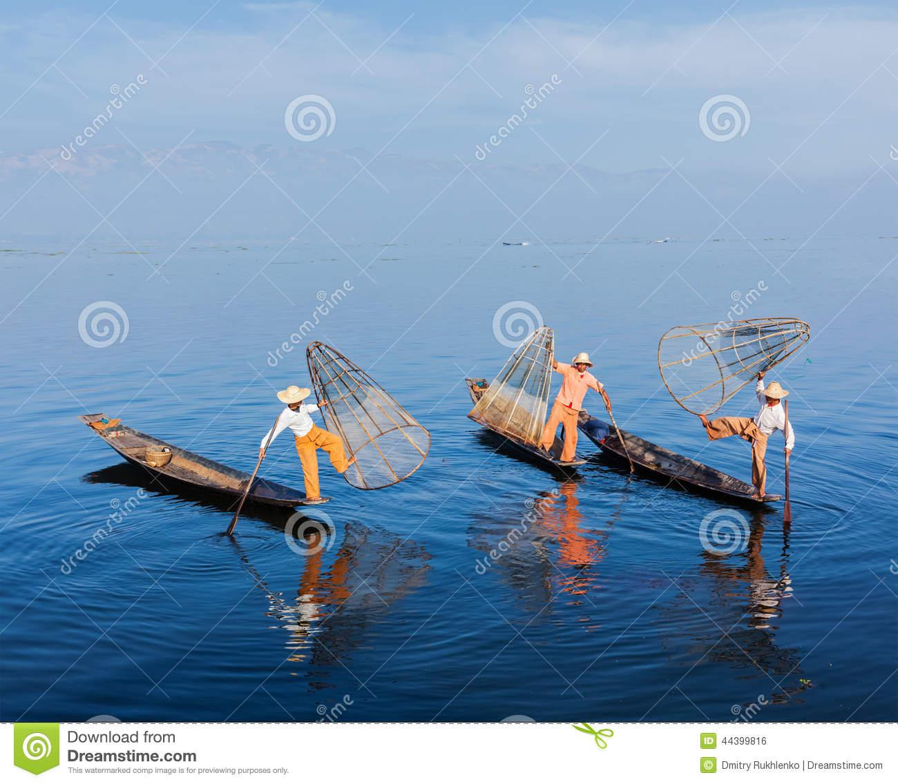Burmese Fishermen At Inle Lake, Myanmar Stock Photo.