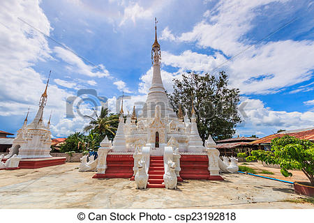 Stock Photography of Pagoda and stupa Inle lake, Shan state of.