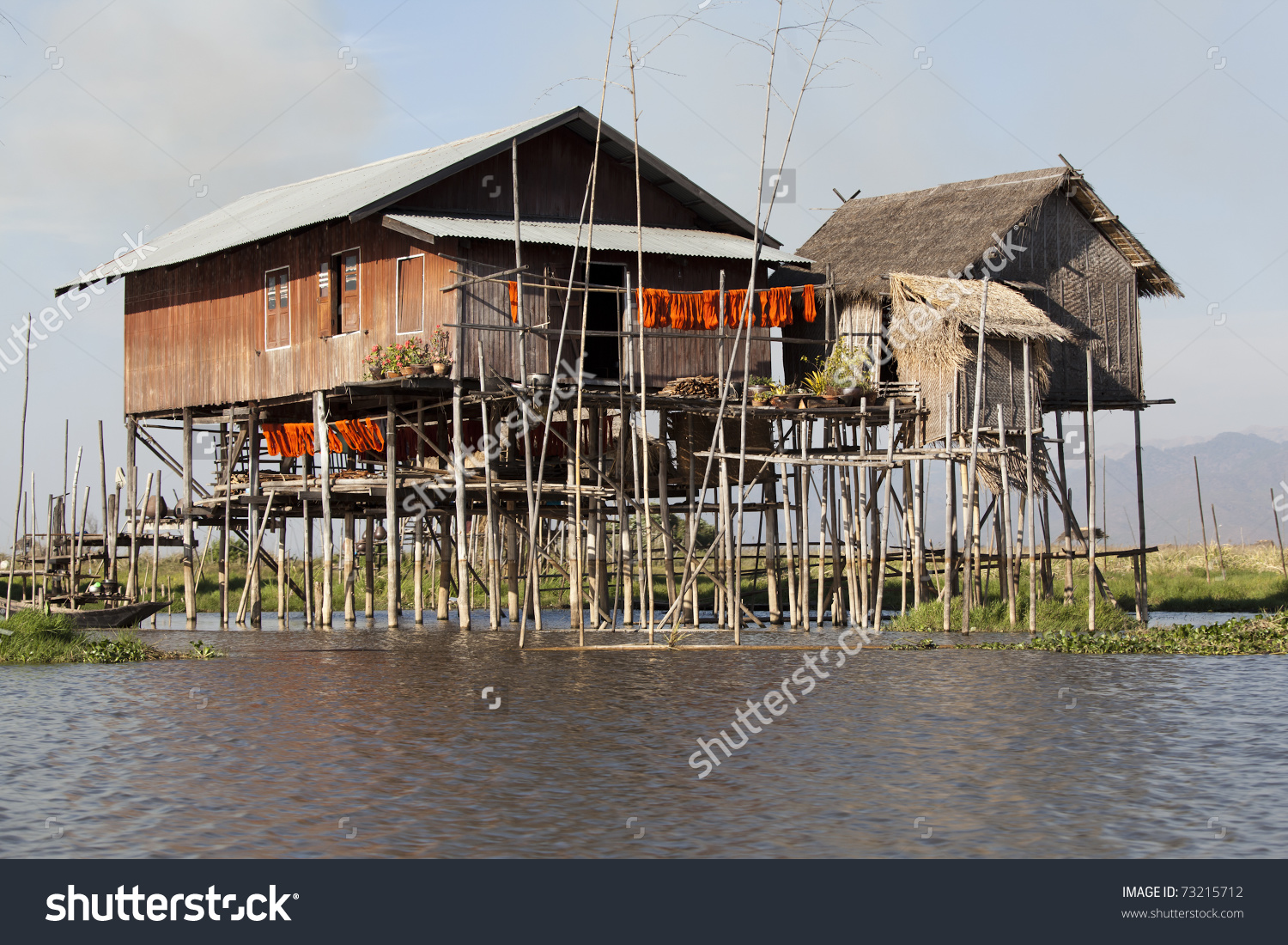 Village House On Inle Lake Standing On Stilt And Made From Bamboo.