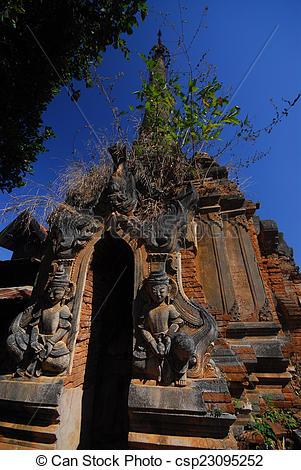 Stock Images of Sanctuary Shwe Inn Taing Paya near Inle lake.