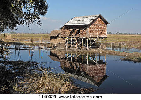 Stock Photograph of A stilt house on Inle Lake, Burma 1140029.