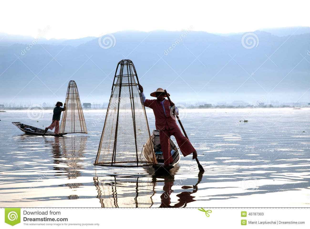 Traditional Fishing By Net In Inle Lake,Myanmar. Editorial Stock.