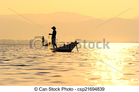 Stock Photos of Inle Lake fiserman, Myanmar.