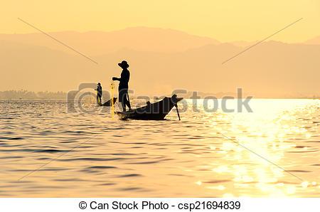 Stock Photos of Inle Lake fiserman, Myanmar.