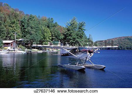 Stock Images of seaplane, Adirondacks, Fulton, New York, NY.