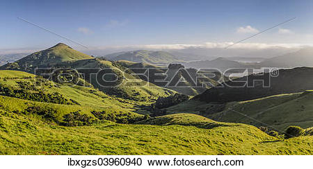 """Stock Photography of """"Green hilly grasslands with view of Hoopers."""