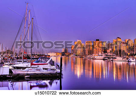 Stock Photo of Evening, Burrard Inlet, Stanley Park Marina, Canada.