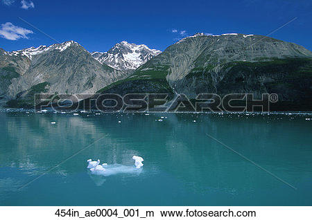 Stock Photo of Tarr Inlet W/ Icebergs Glacier Bay NP SE AK Summer.