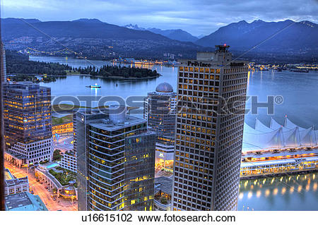 Stock Photo of Evening, Canada Place, Burrard Inlet and Coastal.