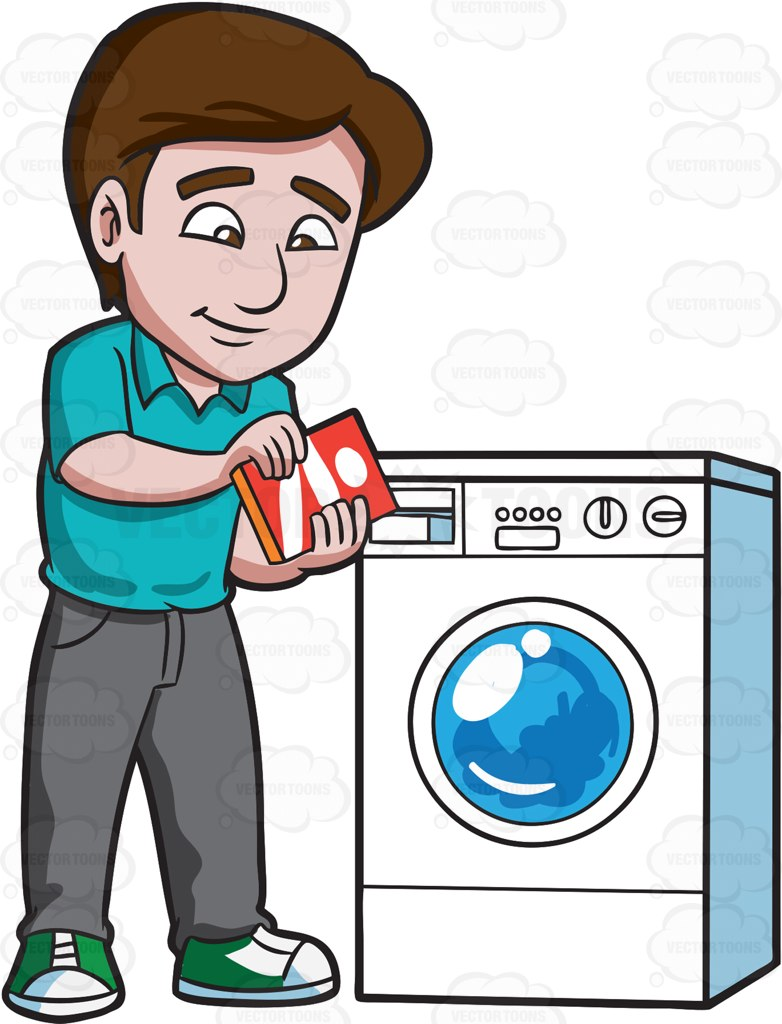 A Man Adding Some Detergent Powder Into The Washing Machine Soap.
