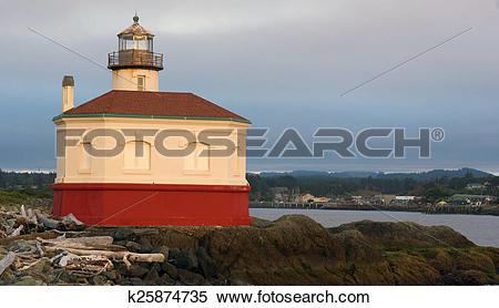 Stock Image of Coquille River Lighthouse Bandon Bay Oregon Pacific.