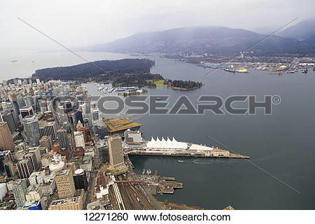 Stock Photography of Burrard Inlet with Canada Place, Harbour.