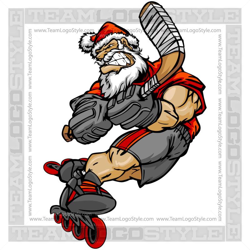 Santa Roller Hockey Player.