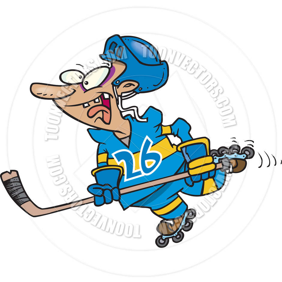 Clipart roller hockey player.
