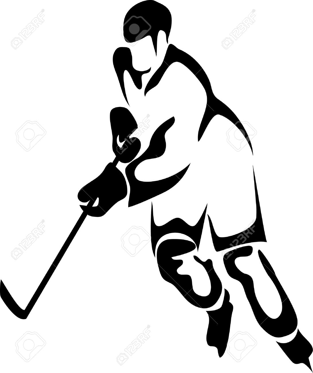 Ice hockey player clipart.