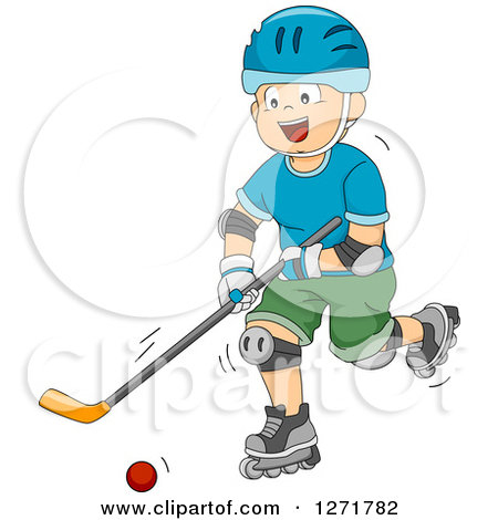 Clipart of a Happy White Boy Playing Roller Hockey.